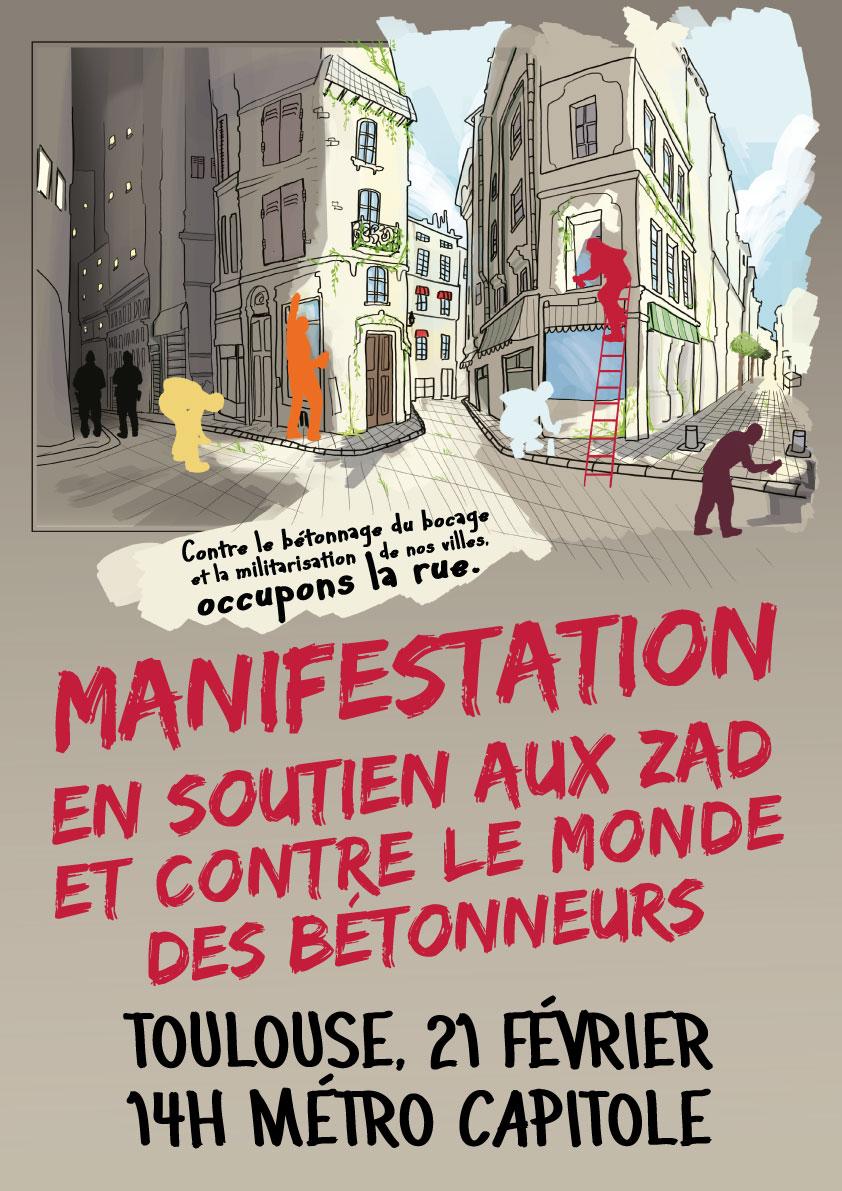 Affiche manifestation du 21 février - soutien aux ZADs et contre le monde des bétonneurs