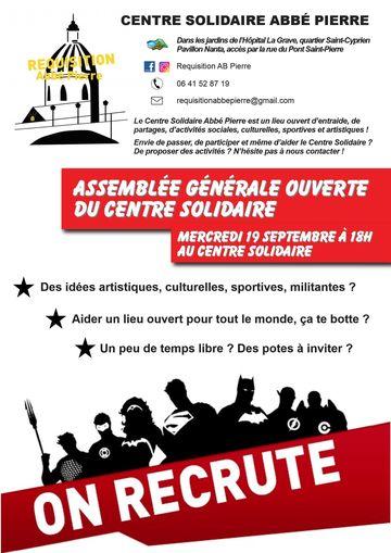 19 sept.: Assemblée Générale du Centre Solidaire ! On s\'organise ...